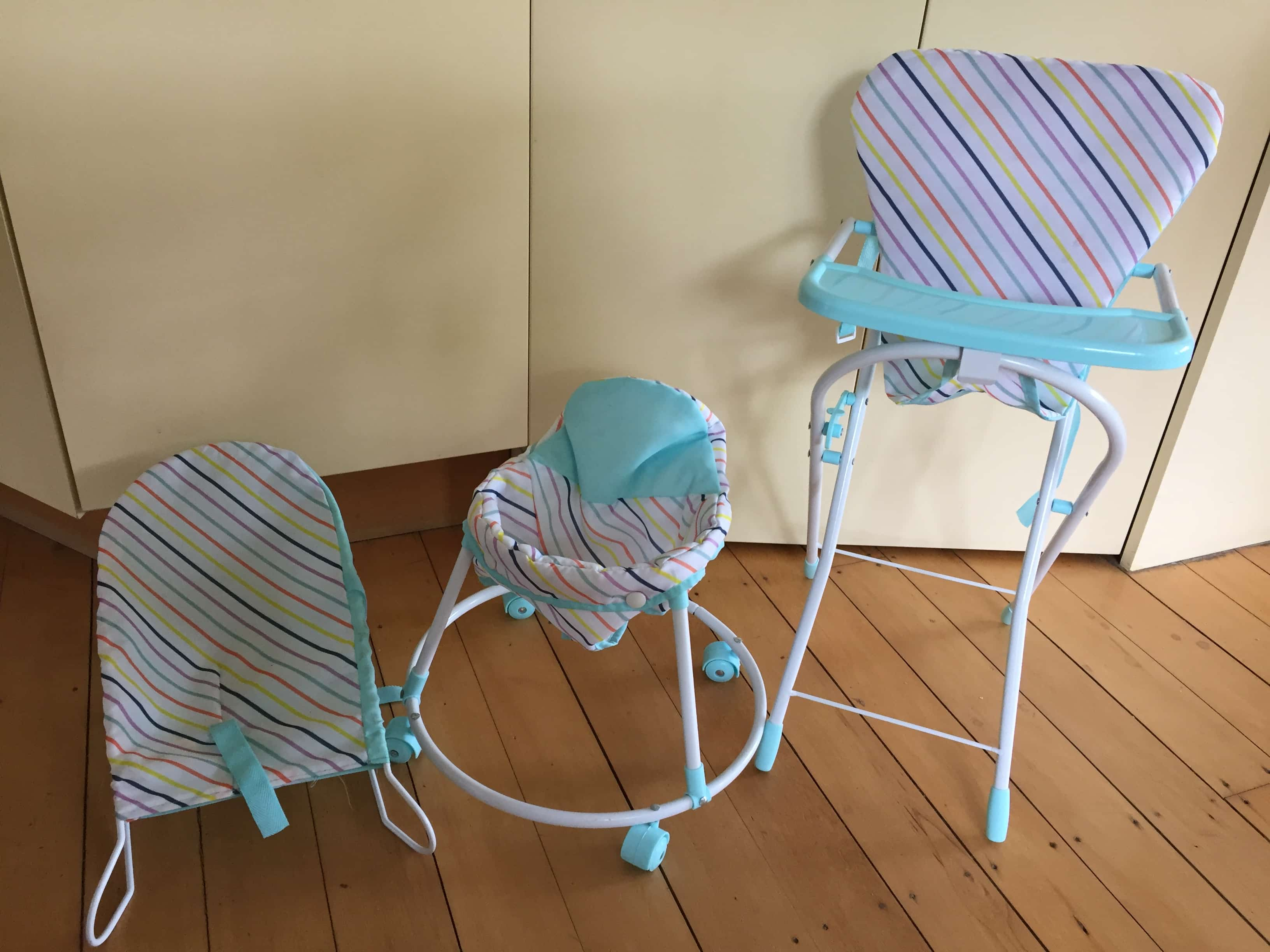 Highchair, Walker, Bouncer Doll Set
